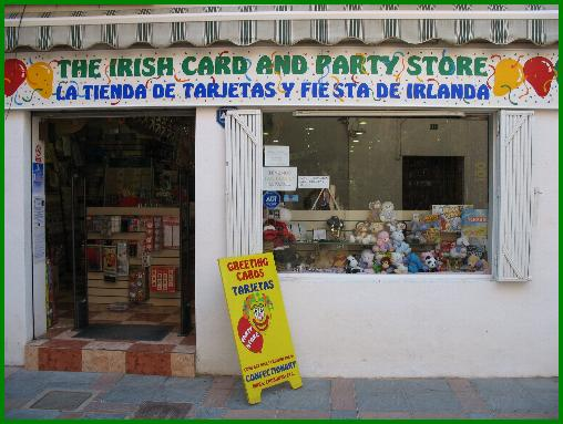 The Irish Card and Party Store for all your party products on the Costa del Sol