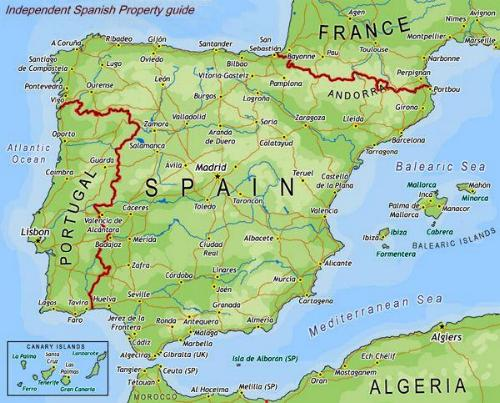 Map of Spain and deciding where to buy a property.