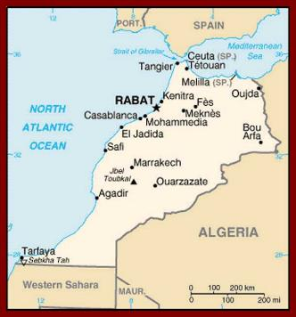 where is morocco located? Map