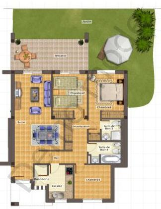 Plans 2 Three bedrooms corner ground floor unit with garden