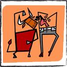 caricaturas en lienzo de algodón para bastidor - Luis Santiago