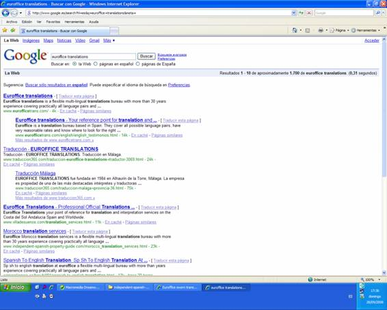 Screenshot of Nº1 placement in Google 28/09/08